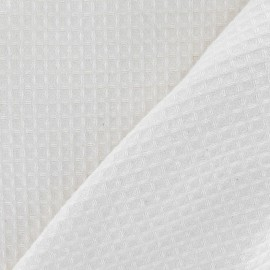 Tissu éponge nid d'abeille recto-verso blanc cassé x 10cm