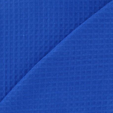 Tissu éponge nid d'abeille recto-verso bleu roy x 10cm