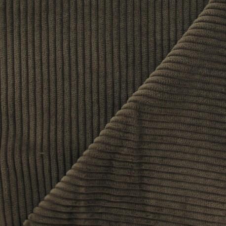 Thick ribbed velvet fabric - cigar x 10cm
