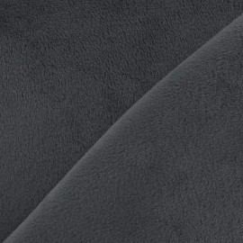 Tissu velours minkee doux ras gris x 10cm