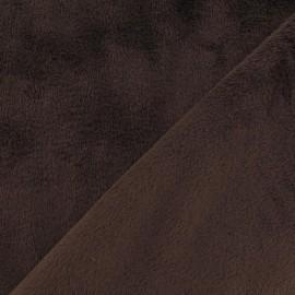 Tissu velours minkee doux ras chocolat x 10cm
