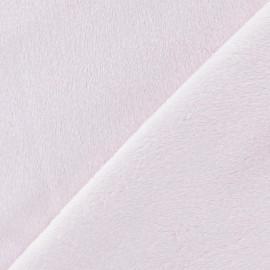 Tissu velours minkee doux ras rose dragé x 10cm