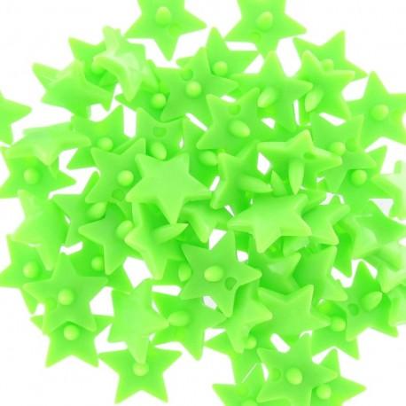 10 pressions étoiles Kam résine vert fluo