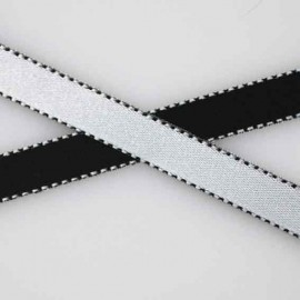 Two-tone Satin Ribbon, overstitched 10mm - black/white