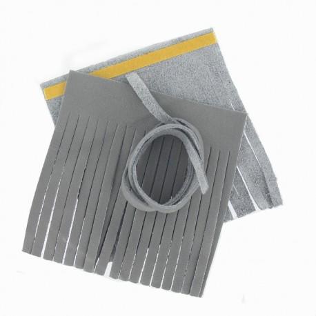 """Set of leather double pompom, large-size """"Lazy Gray V2"""" - grey"""