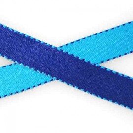Two-tone Satin Ribbon, overstitched 10mm - navy/blue