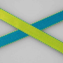 Two-tone Satin Ribbon, overstitched 10mm - lime/turquoise