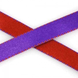 Two-tone Satin Ribbon, overstitched 10mm - brick-red/purple