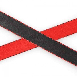 Two-tone Satin Ribbon, overstitched 10mm - red/black