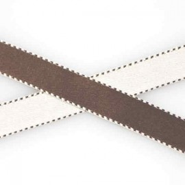 Two-tone Satin Ribbon, overstitched 10mm - brown/white