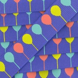 Ruban gros grain ballon Party violet