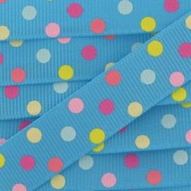 Grosgrain Ribbon, Polka Dots Party - Turquoise