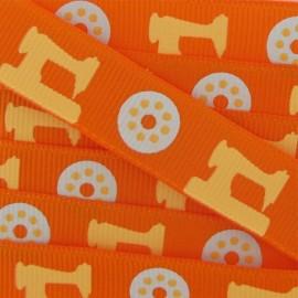 Ruban gros grain Mercerie machines orange