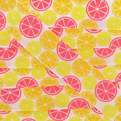 Grosgrain ribbon, candies, citrus fruits - yellow