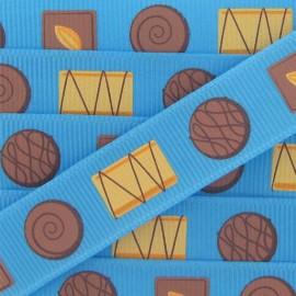 Ruban gros grain Gourmandises gâteaux bleu