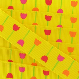 Grosgrain Ribbon, Nature Flowers - Yellow