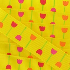 Ruban gros grain Nature fleurs jaune