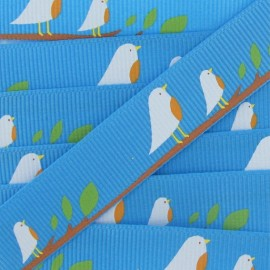 Grosgrain Ribbon, nature, birds - blue