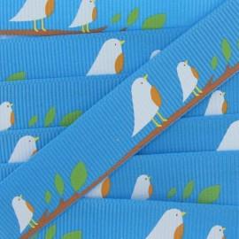 Ruban gros grain Nature oiseaux bleu