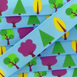 Grosgrain Ribbon, Nature trees - blue