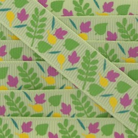 Grosgrain Ribbon, Nature leaves - green