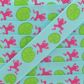 Grosgrain Ribbon, nature, frogs - seagreen