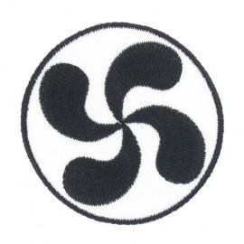 Basque cross iron-on applique - black & white