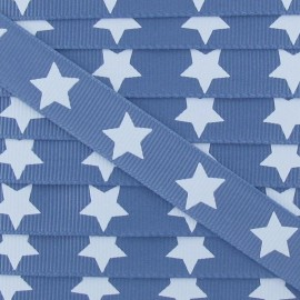 Froufrou grosgrain ribbon, light blue stars - denim