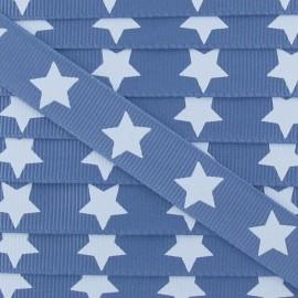 Ruban Froufrou gros grain étoiles bleu denim