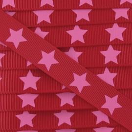 Ruban Froufrou gros grain étoiles rouge cerise