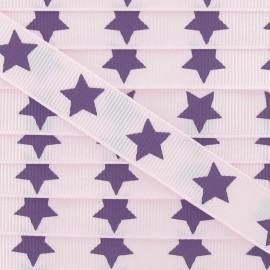 Ruban Froufrou gros grain étoiles violet rose pâle