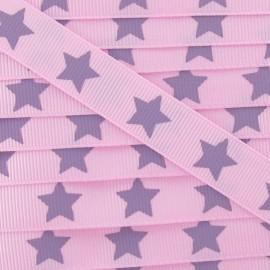 Ruban Froufrou gros grain étoiles rose bonbon violet