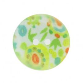 Bouton nacre fantaisie fleurs vert