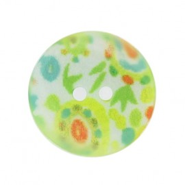 Mother-of-Pearl button, fantasy flowers - green
