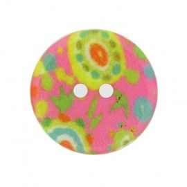 Mother-of-Pearl button, fantasy flowers - fuchsia