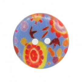 Mother-of-Pearl button, fantasy flowers - blue