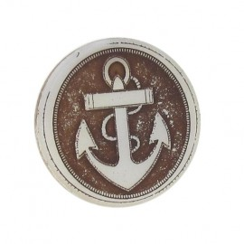 Mother-of-Pearl button, Anchor, with a tail - brown