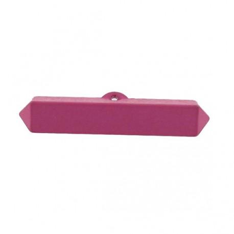 Nylon small-log-shaped button - fuchsia