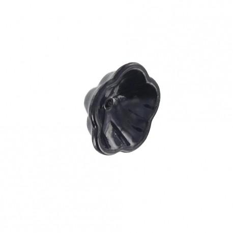 Bouton résine fleur noir