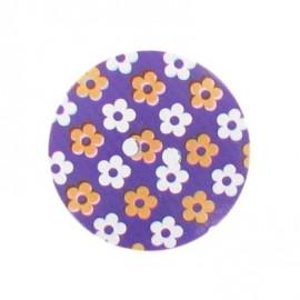 Wooden button Elno - purple