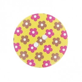 Wooden button Elno - yellow