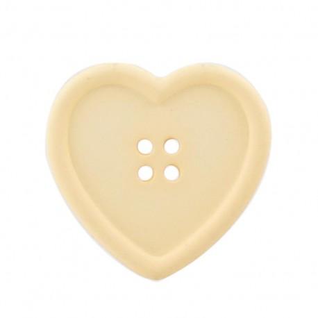 Bouton coeur crème