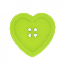 Heart-shaped button - lime