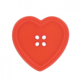 Heart-shaped button - orange