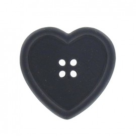 Heart-shaped button - black