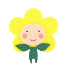Felt-fabric Daisy child iron-on applique - multicolored