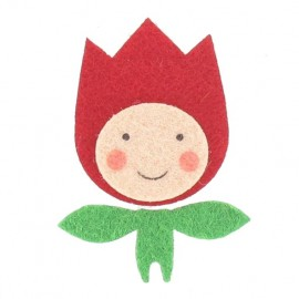 Felt-fabric Tulip child iron-on applique - multicolored