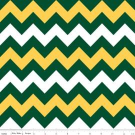 Tissu Medium Chevron vert jaune x 10cm