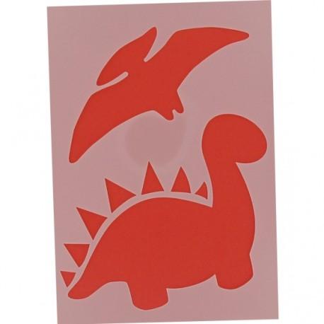 "Customization stencil ""Dinosaurs"" - red"