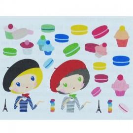 ♥ Textile transfert The Parisian girls iron-on applique - multicolored ♥